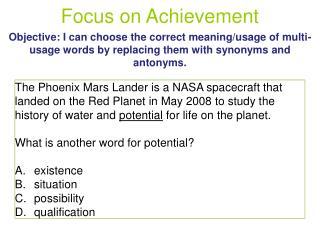 Focus on Achievement