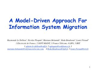 A Model-Driven Approach For Information System Migration
