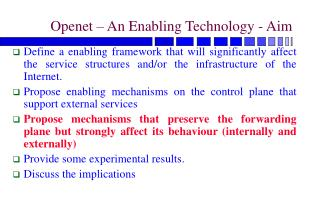 Openet – An Enabling Technology - Aim