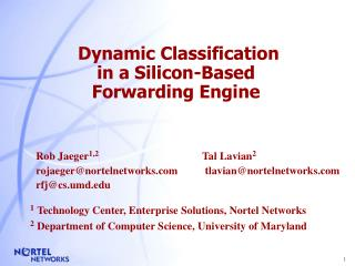 Dynamic Classification  in a Silicon-Based  Forwarding Engine