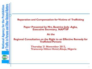 Reparation and Compensation for Victims of  Trafficking