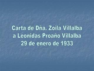 Carta de D�a. Zoila Villalba a Leonidas Proa�o Villalba 29 de enero de 1933