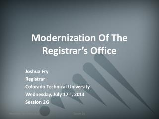 Modernization Of The Registrar's Office