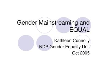 Gender Mainstreaming and EQUAL