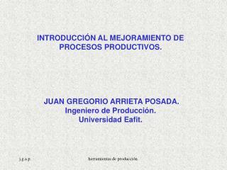 INTRODUCCIÓN AL MEJORAMIENTO DE  PROCESOS PRODUCTIVOS.  JUAN GREGORIO ARRIETA POSADA.