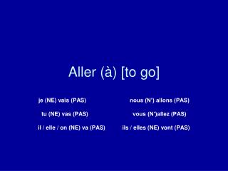 Aller (�) [to go]