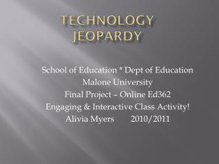 Technology Jeopardy