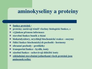 aminokyseliny a proteiny