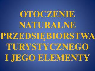 OTOCZENIE NATURALNE PRZEDSIĘBIORSTWA TURYSTYCZNEGO  I JEGO ELEMENTY