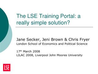The LSE Training Portal: a really simple solution?