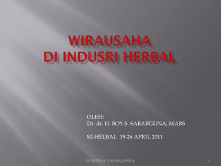 WIRAUSAHA  di  INDUSRI HERBAL