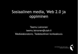 Sosiaalinen media, Web 2.0 ja oppiminen
