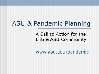 ASU & Pandemic Planning