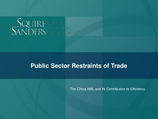 Public Sector Restraints of Trade
