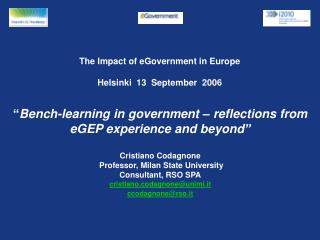 The Impact of eGovernment in Europe Helsinki  13  September  2006