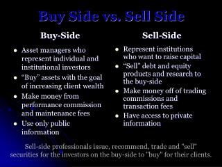 Buy Side vs. Sell Side