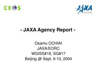 - JAXA Agency Report -
