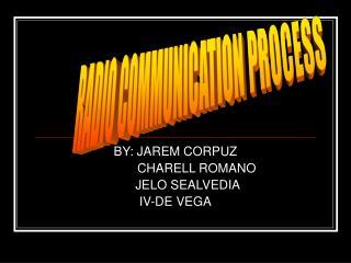 BY: JAREM CORPUZ             CHARELL ROMANO        JELO SEALVEDIA IV-DE VEGA