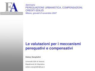 Stefano Stanghellini Università IUAV di Venezia Dipartimento di Urbanistica