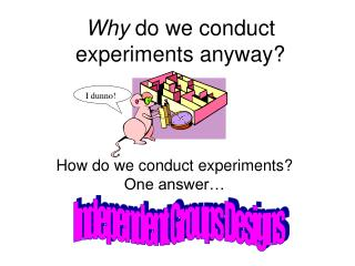 Why  do we conduct experiments anyway?