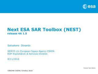 Next ESA SAR Toolbox (NEST)  release 4A 1.5