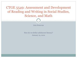 CTGE 5549: Assessment and Development of Reading and Writing in Social Studies, Science, and Math