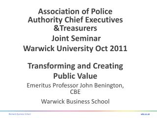 Association of Police Authority Chief Executives &Treasurers  Joint Seminar