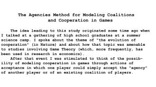 The Agencies Method for Modeling Coalitions and Cooperation in Games
