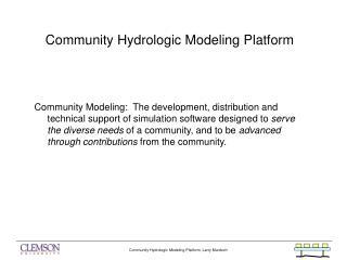 Community Hydrologic Modeling Platform
