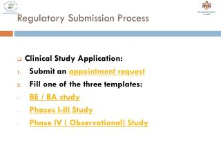 Regulatory Submission Process