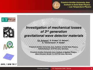 Investigation of mechanical losses of 3 rd  generation gravitational wave detector materials