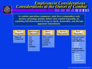 Employment Considerations: Considerations at the Outset of Combat