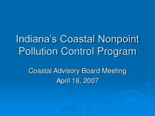 Indiana's Coastal Nonpoint Pollution Control Program