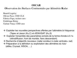 OSCAR O bservation des  S urfaces  C ontinentales par  A ltimétrie  R adar