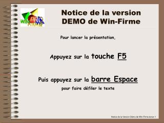 Notice de la version DEMO de Win-Firme