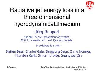 Radiative jet energy loss in a three-dimensional hydrodynamica l medium