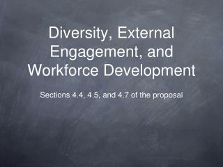 Diversity, External Engagement, and Workforce Development