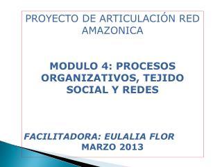 PROYECTO  DE ARTICULACIÓN RED AMAZONICA MODULO 4: PROCESOS ORGANIZATIVOS, TEJIDO SOCIAL Y REDES