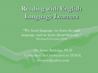 Reading with English Language Learners