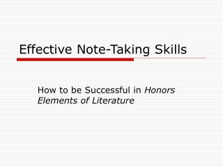 Effective Note-Taking Skills