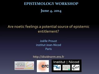 EPISTEMOLOGY WORKSHOP June  4, 2014