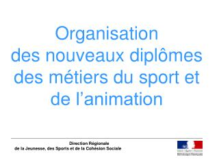 Organisation  des nouveaux diplômes  des métiers du sport et de l'animation