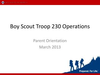 Boy Scout Troop 230 Operations