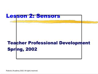 Lesson 2: Sensors