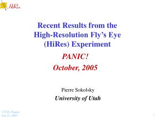 Recent Results from the High-Resolution Fly's Eye (HiRes) Experiment
