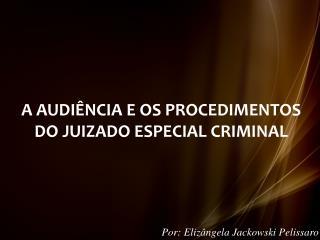 A AUDIÊNCIA E OS PROCEDIMENTOS DO JUIZADO ESPECIAL CRIMINAL