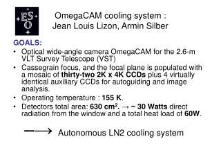 OmegaCAM cooling system : Jean Louis Lizon, Armin Silber