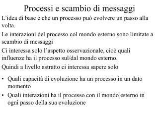 Processi e scambio di messaggi