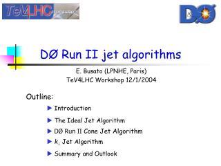 D Ø  Run II jet algorithms