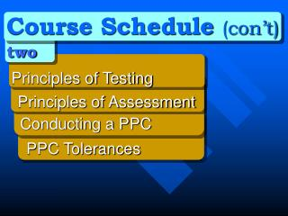 Course Schedule  (con't) two  Principles of Testing   	Principles of Assessment
